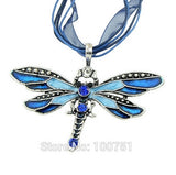 Colorful Necklace with Dragonfly Pendant