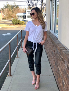 'Doobie' faux leather joggers
