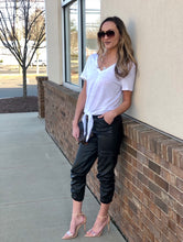 Load image into Gallery viewer, 'Doobie' faux leather joggers