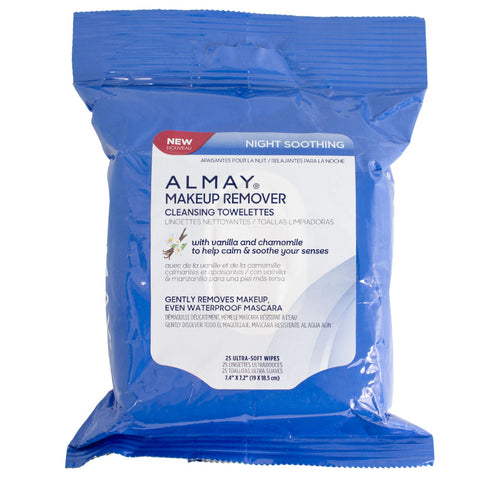 Almay Night Soothing Makeup Remover Cleansing Towelettes, 25 pack