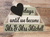 Personalised Wedding Countdown, Countdown Blocks, Engagement Gift - Fingers and Thumbs Crafts
