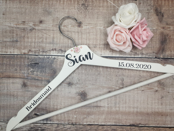 Personalised Wedding Coat Hangers, Wooden Clothes Hangers, Bride, Groom, Bridesmaid - Fingers and Thumbs Crafts