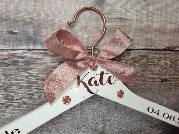 Rose Gold Wedding dress hanger, Bridesmaid Hanger - Fingers and Thumbs Crafts