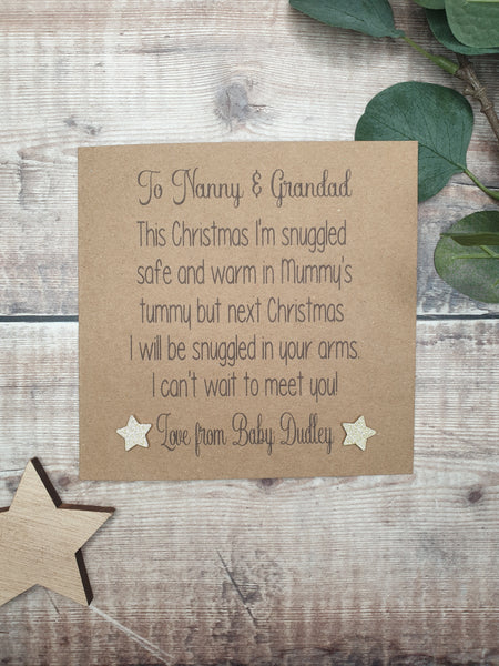 Christmas Card from the Bump, Rustic Kraft Card, Grandparents Love from Bump Card