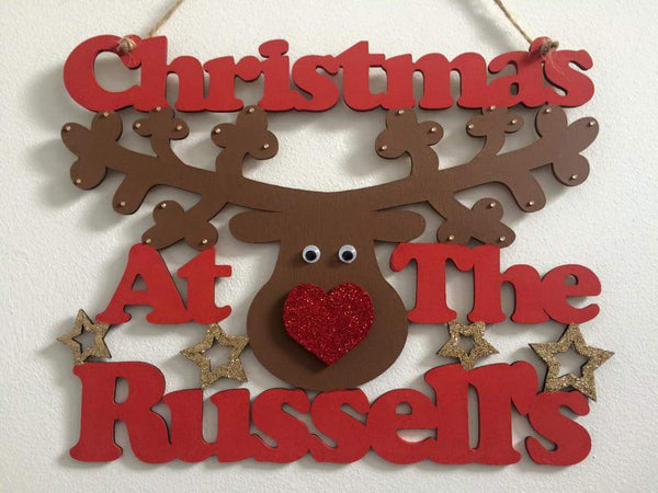 Christmas at The.. Personalised Wooden Surname Plaque - Fingers and Thumbs Crafts