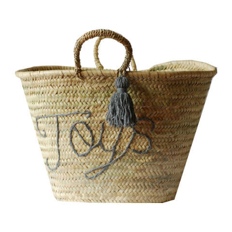 embroidered market basket toy storage nursery storage