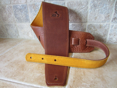 4 Inch Wide Acorn Leather Guitar Straps