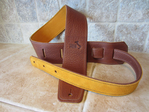 2.5 Inch Wide Acorn Leather Guitar Straps