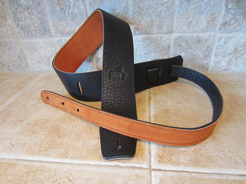 black leather guitar straps