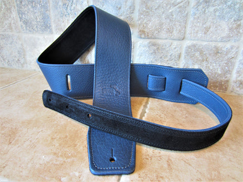 2.5 Inch Wide Blue Leather Guitar Straps [New Leather Color]