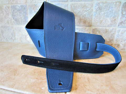 4 Inch Wide Blue Leather Guitar Straps [New Leather Color]