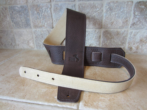 799df09eedbcf 2.5 Inch Wide Chocolate Leather Guitar Straps – Italia Leather Straps
