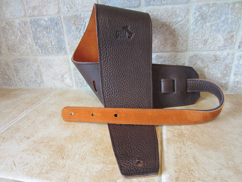 4 Inch Wide Chocolate Leather Guitar Straps