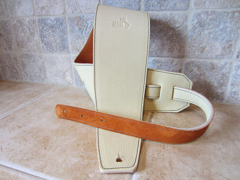 4 Inch Wide Crema Leather Guitar Straps:
