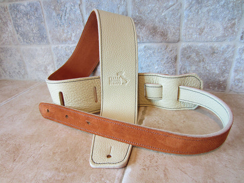 2.5 Inch Wide Crema Leather Guitar Straps