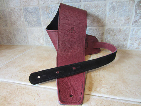4 Inch Wide Wine Leather Guitar Straps