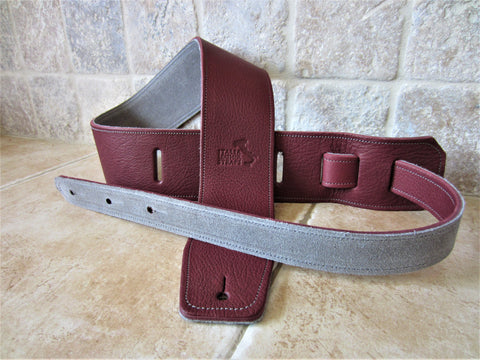 2.5 Inch Wide Wine Leather Guitar Straps: