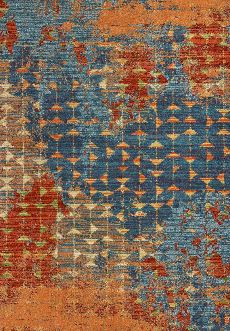 Kas Illusions 6208 Blue/Coral Elements Area Rug