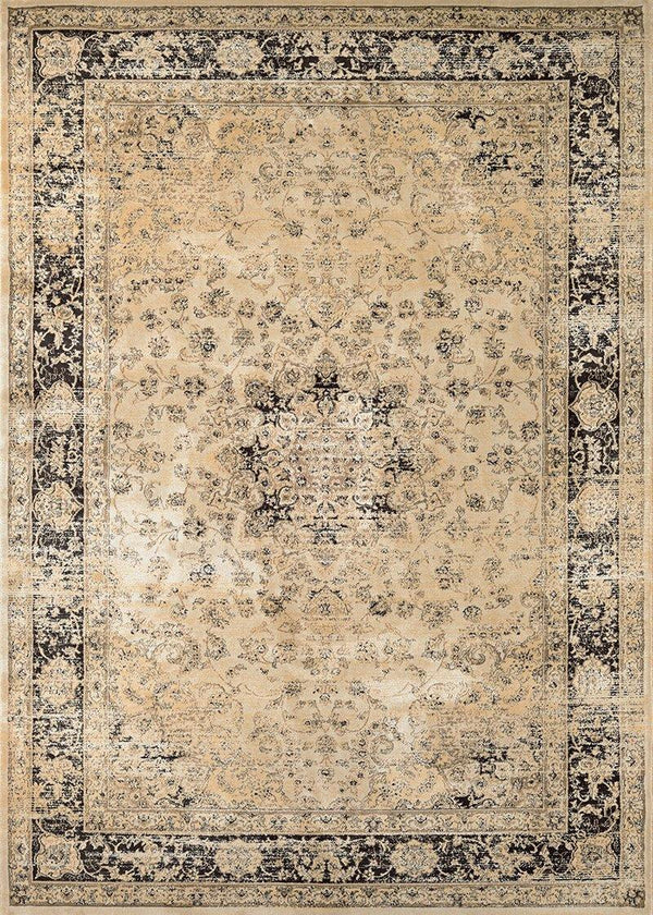 Couristan ZAHARA PERSIAN VASE 0428-0402 OATMEAL/BLACK Area Rug