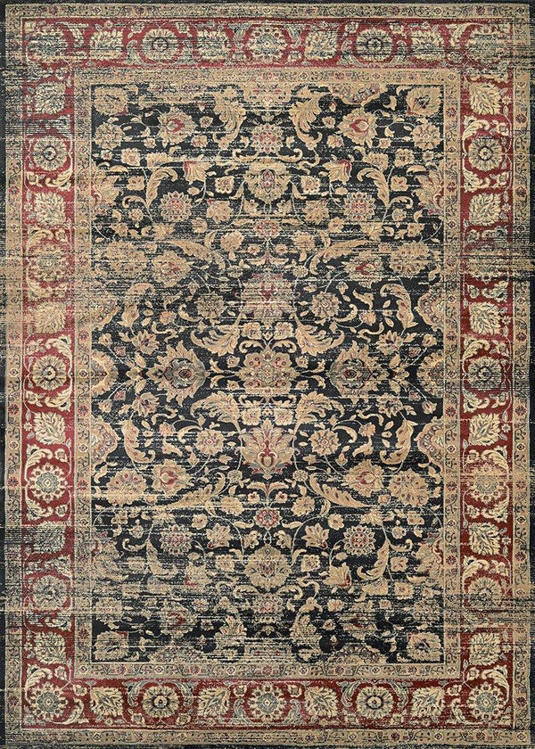 Couristan ZAHARA EMBELLISHED BLOSSOM 1143-0330 BLACK/RED/OATMEAL Area Rug