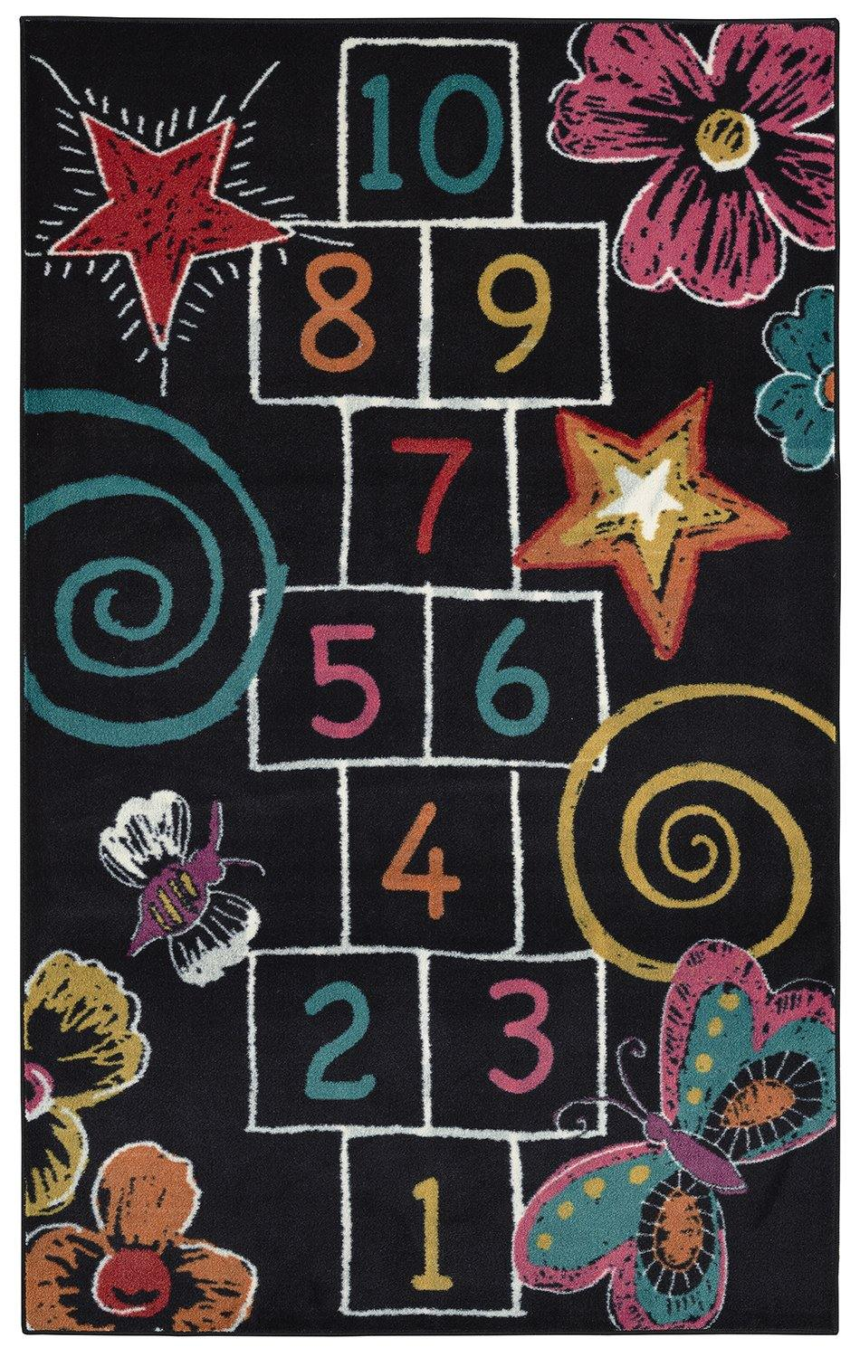 Mohawk Aurora (Kids) Hopscotch Chalk Black 12380-402 Area Rug