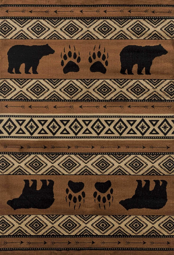 United Weavers Woodside Bear Imprint 712-30850 Brown Area Rug