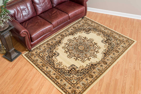 United Weavers Dallas Floral Kirman 851-10115 Ivory Area Rug