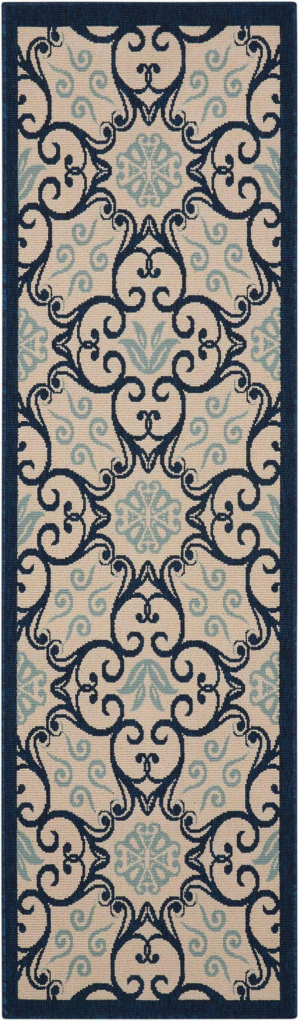 Nourison CARIBBEAN CRB02 IVORY/NAVY Area Rug