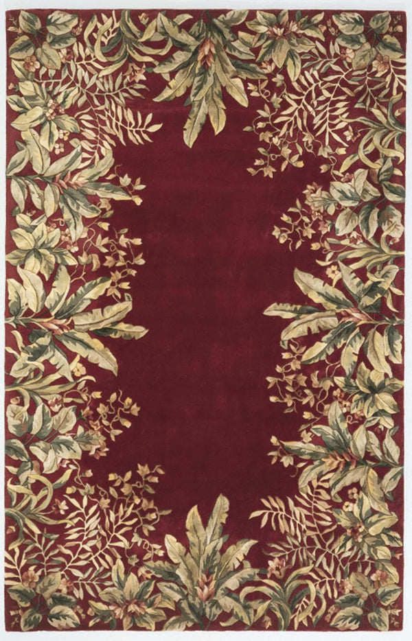 kas rugs Emerald Ruby Tropical Border 9017 Ruby  Area Rugs