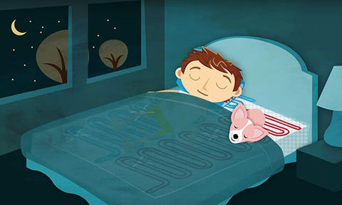 Animated boy sleeping on a heated and cooled mattress with a dog