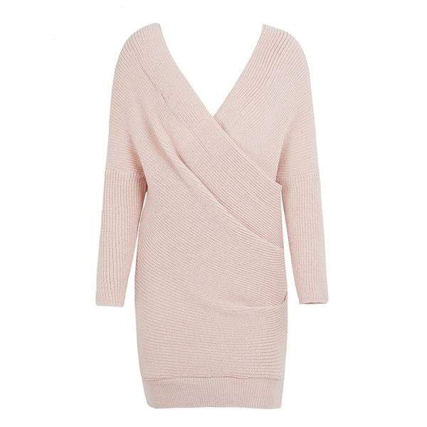 Irene V-Neck Cross Knitting Sweater Dress