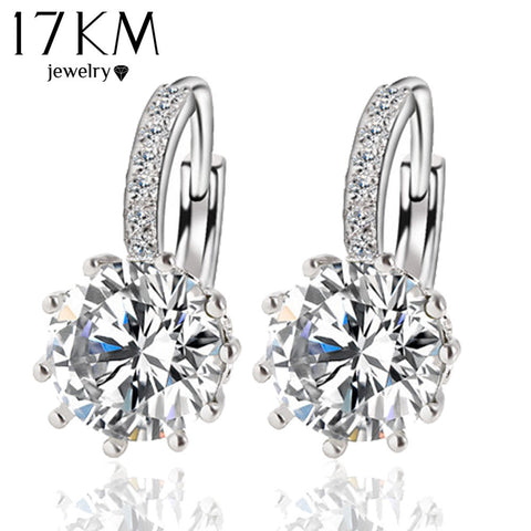 NEW Fashion Alloy Silver Geometry Crystal Earring Simple Round Zirconia
