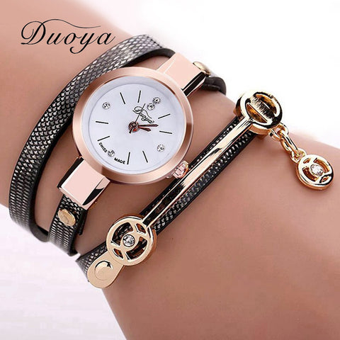 New Duoya Fashion Women Bracelet Watch Gold Quartz Wristwatch Leather Casual Bracelet