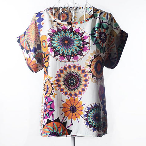 NEW 2017 Print O-Neck Tropical Chiffon Women Blouse Short Batwing Sleeve