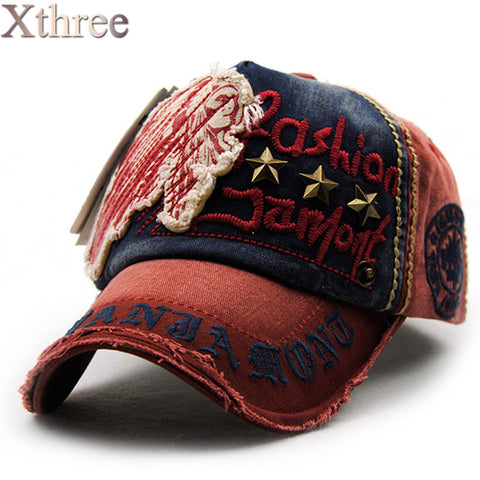 Xthree Brand Cotton Fashion Embroidery Antique Style Baseball Cap Unisex