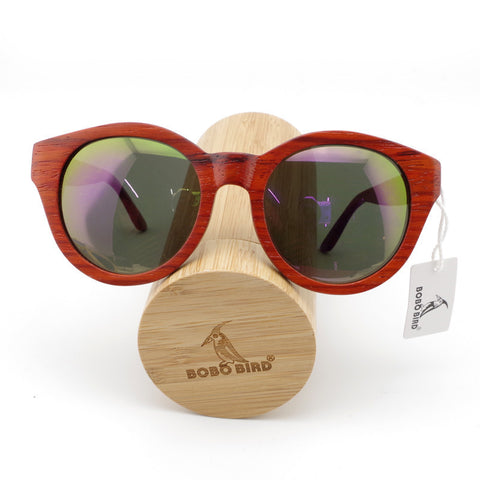 NEW 2017 Women Wooden Sunglasses Red Wood Cat Eye Oversized Sunglasses With Bamboo Box
