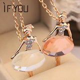 NEW 2017 Gold Color Sweater Chain Shiny Crystal Ballet Girl Pendant
