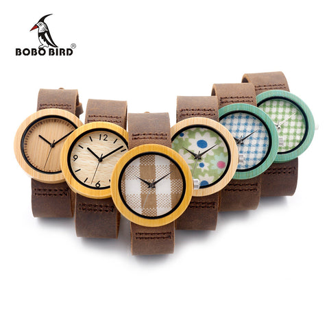 BOBO BIRD NEW High Quality Bamboo Wood Watch With Japanese Miyota Movement Leather Strap