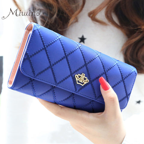 NEW Cute Crown Luxury Trifold Plaid Leather Women Wallet/Purse