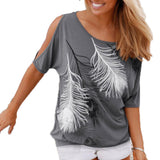 NEW 2017 Summer Women Feather Printed T-shirts O-neck Strapless Shirts Off Shoulder Short-sleeved T-shirt Loose Type
