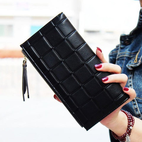 NEW Fashion Stereoscopic Square Embossed Double Zipper Women Wallet/Purse
