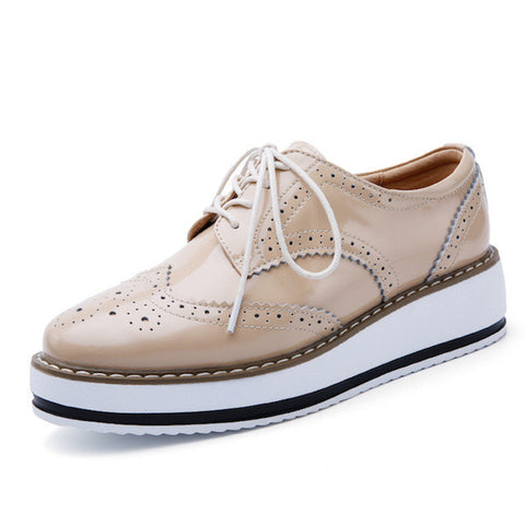 NEW Women Luxury Platform Oxfords Brogue Flats Shoes Patent Leather Lace Up Pointed Toe
