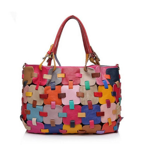 NEW 2017 100% Genuine Leather Women Handbag Colourful Patchwork Tote