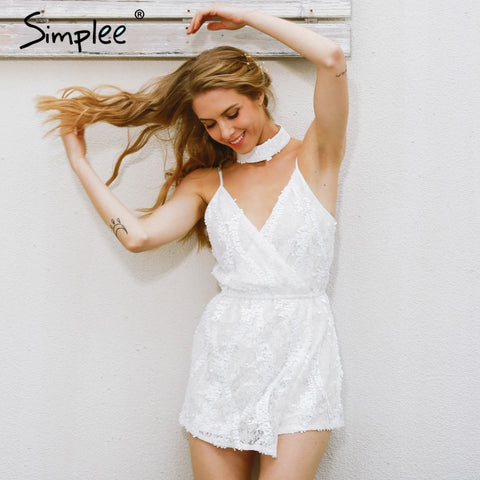 NEW Sexy and Chic Jumpsuit Deep V Neck White Lace