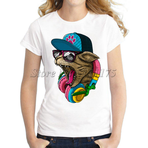 2017 Funny Music DJ Cat Printed Women T-shirt Novelty