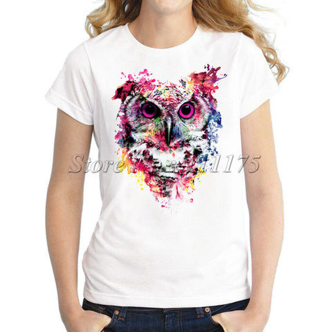 2017 Summer Women Novelty T-shirt Fashion Colorful Owl Design