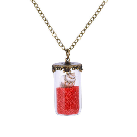 NEW 2017 Classical Glass Vial Necklace Beads Shells Retro Crystal Natural Necklace