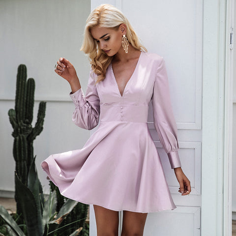 Deborah Satin V-Neck Dress