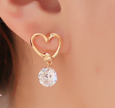 New 2017 Hot Fashion Luxury Crystal Zircon Stud Heart Earrings Elegant Earrings