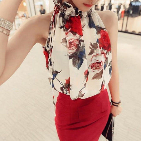 2017 New Fashion Summer Clothing Floral Chiffon Halter Sexy Strapless Women Shirt Loose Sleeveless